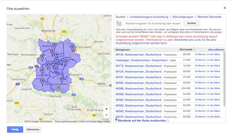 """Im Wahlkampf mit Google Adwords lassen sich über reginale Aussteuerungen zielgruppengenau die eigenen Wähler adressieren. Hier am Beispiel des Wahlkreises #39 """"Stadt Osnabrück"""""""
