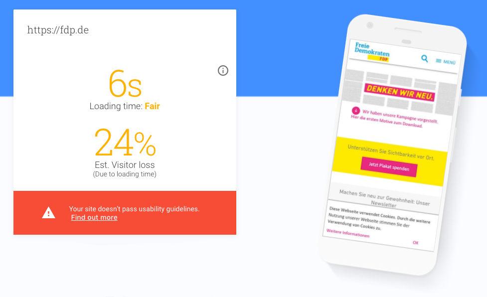 Parteienwebsites verlieren Nutzern durch zu lange Ladezeiten - laut Google sind es bei der FDP aktuell 24%.