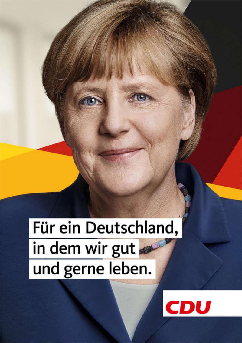 Wahlplakat der CDU zur Bundestagswahl 2017 mit Angela Merkel