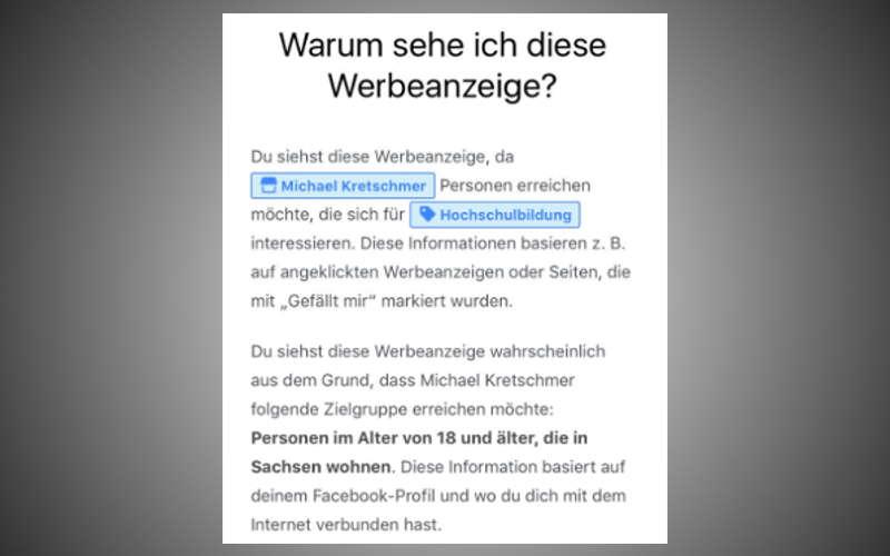 Angaben zum Microtargeting im Facebook Wahlkampf der CDU