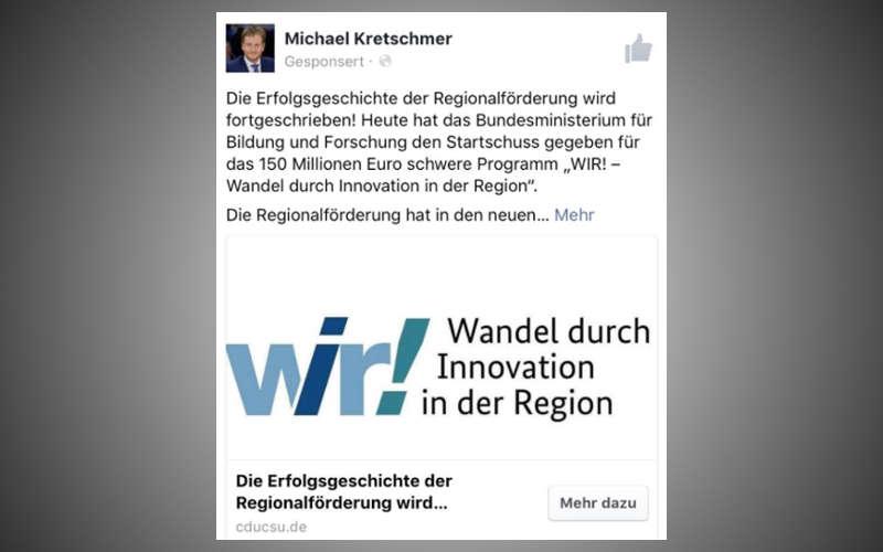 Facebook Ad eins CDU Abgeordneten im Wahlkampf