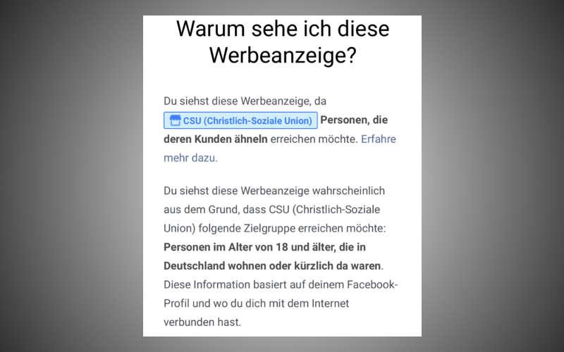 Angaben zum Microtargeting einer CSU Facebook Anzeige im Wahlkampf