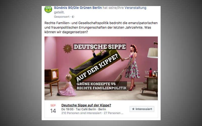 Facebook Wahlkampf von Bündnis 90 / Die Grünen - eine Anzeige für eine Veranstaltung