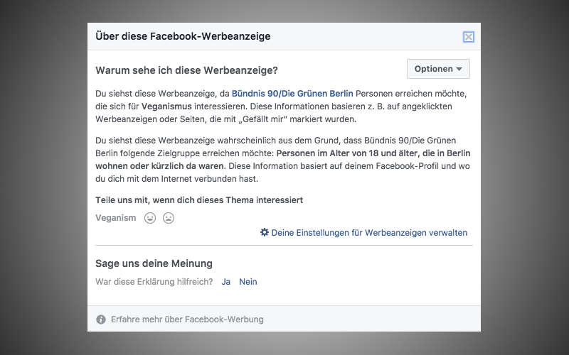 Targeting Informationen der FDP-Anzeigenkampagne von Frau Teuteberg