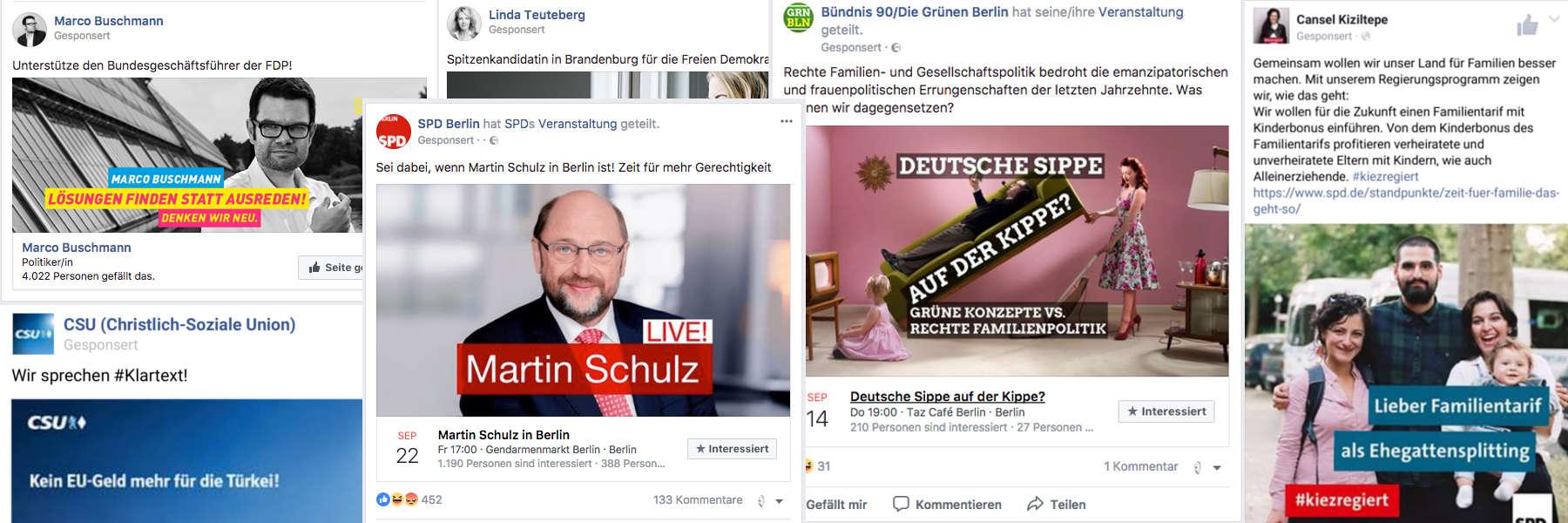 Der Facebook Wahlkampf 2017 - Collage aus Facebook Anzeigen