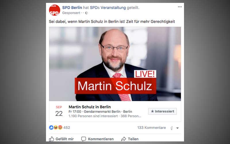 Facebook Anzeige der SPD mit Martin Schulz