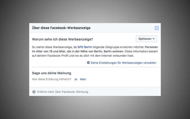 Angaben zum Microtargeting der Facebook Anzeige der SPD