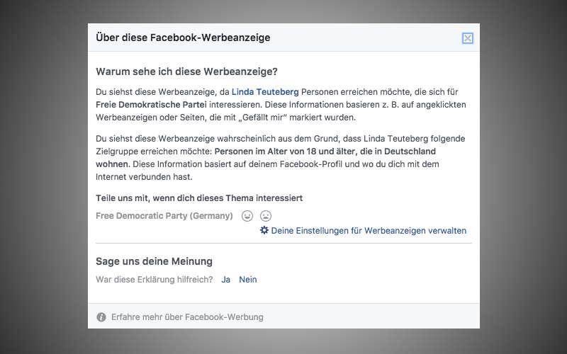 Targeting der Facebook Wahlkampf Anzeige von Linda Teuteberg (FDP)
