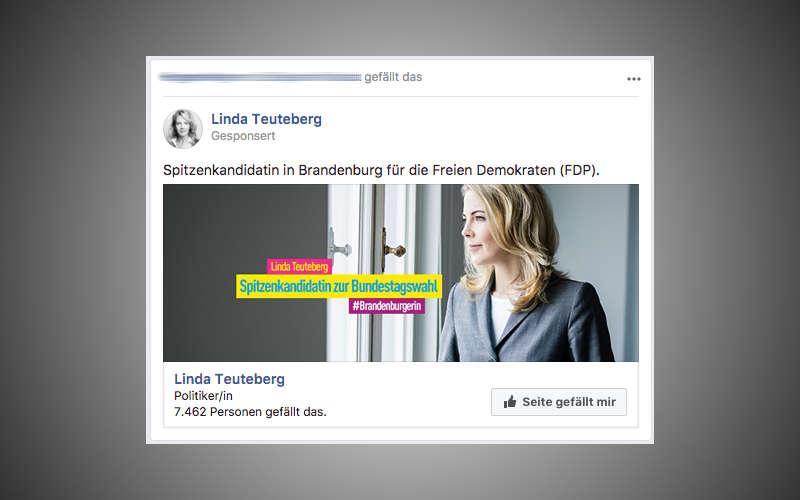 Facebook Wahlkampf Anzeige von Linda Teuteberg (FDP)